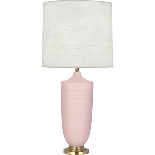 Robert Abbey Michael Berman Hadrian Matte Woodrose Glazed Ceramic with Modern Brass Accents 29-Inch One-Light Table Lamp