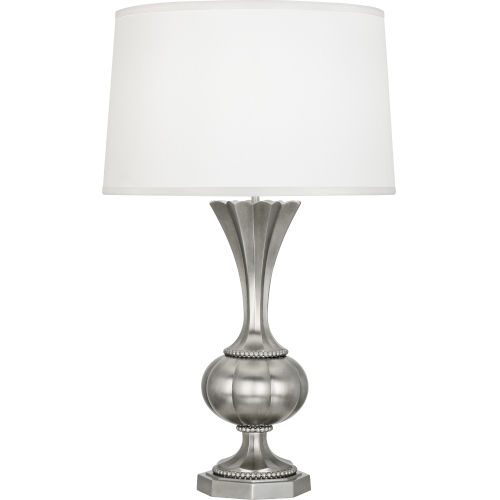 Williamsburg Clementina Silver One-Light Table Lamp With White Silk Shade