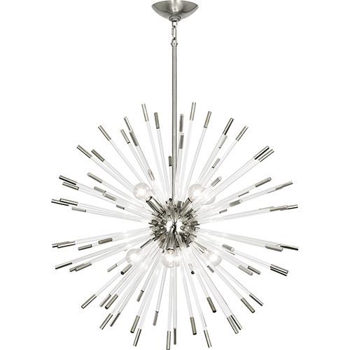 Andromeda Polished Nickel with Clear Acrylic Rods 28-Inch Eight-Light Chandelier