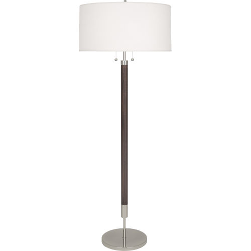 Dexter Polished Nickel Two-Light Floor Lamp With Oyster Linen Shade