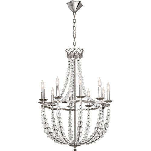 Robert Abbey Williamsburg Coronet Polished Nickel and Clear Crystal Accents 26-Inch 10-Light Chandelier