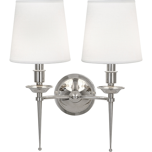 Robert Abbey Cedric Polished Nickel  14-Inch Two-Light Wall Sconce