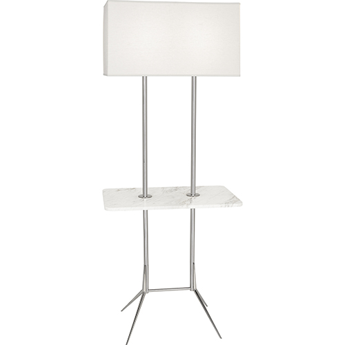 Martin Polished Nickel with White Marble Tray 61-Inch Two-Light Floor Lamp