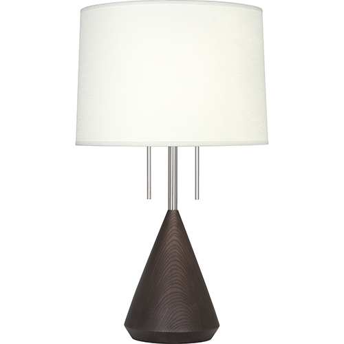 Robert Abbey Wally Polished Nickel with Dark Walnut Wood Base 26-Inch Two-Light Table Lamp