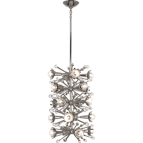 Robert Abbey Jonathan Adler Sputnik Polished Nickel and Clear Crystal Accents 14-Inch 20-Light Pendant