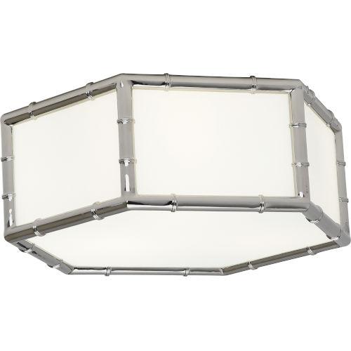 Jonathan Adler Meurice Polished Nickel Three-Light Flushmount With White Glass Shade Panels