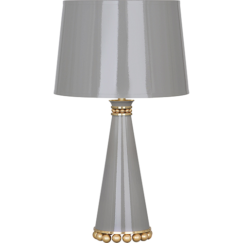 Pearl Smoky Taupe Lacquered Paint with Modern Brass Accents 20-Inch One-Light Table Lamp