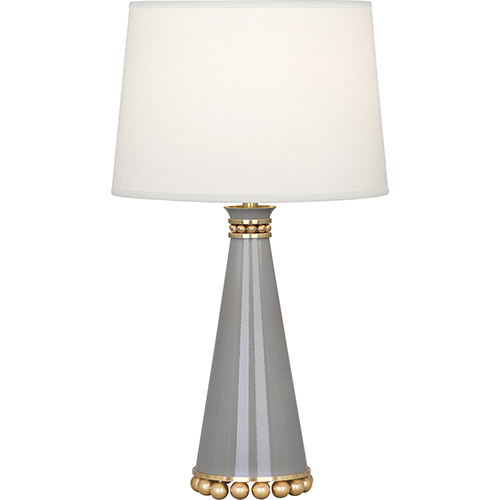 Robert Abbey Pearl Smoky Taupe Lacquered Paint and Modern Brass Accents 20-Inch One-Light Table Lamp