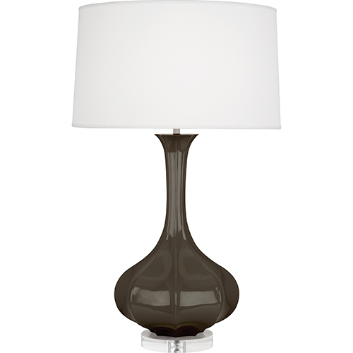 Pike Brown Tea Glazed Ceramic with Lucite Base 33-Inch One-Light Table Lamp