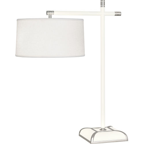 Ranger Glossy White Painted Two-Light Table Lamp With Oyster Linen Fabric Shade