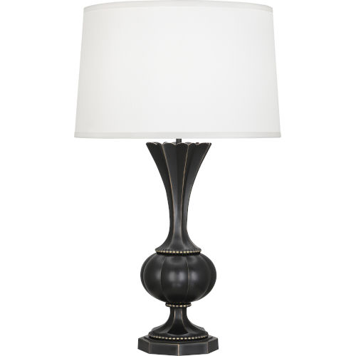 Williamsburg Clementina Bronze One-Light Table Lamp With Ivory Silk Shade