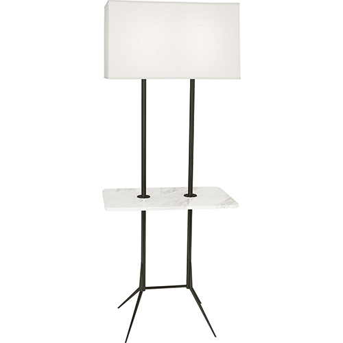 Robert Abbey Martin Deep Patina Bronze with White Marble Tray 61-Inch Two-Light Floor Lamp