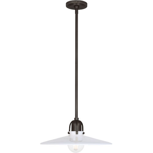 Rico Espinet Arial Deep Patina Bronze One-Light Pendant With White Glass