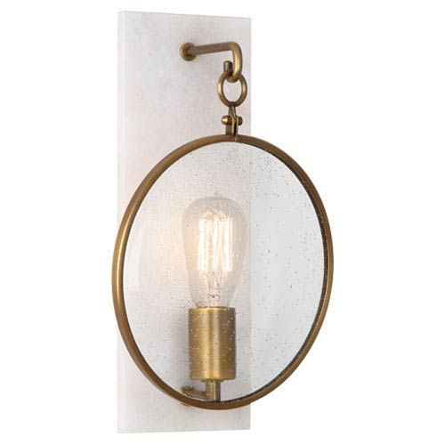 Fineas Alabaster And Aged Brass One-Light Sconce