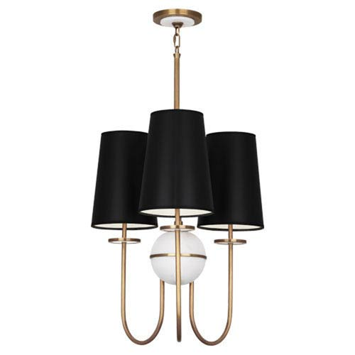 Fineas Alabaster And Aged Brass Three-Light Chandelier with Black Shades
