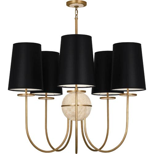 Fineas Aged Brass Five-Light Chandelier with Black Shades and Travertine Glass