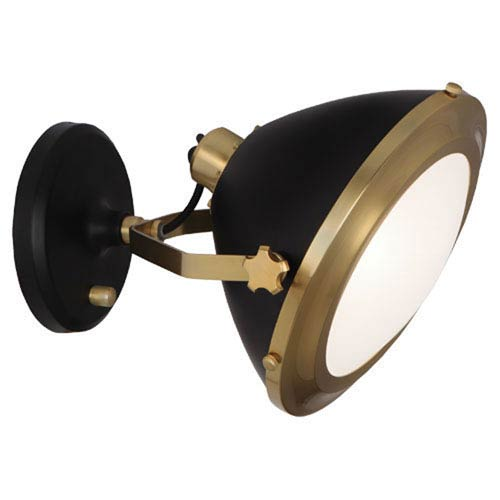 Robert Abbey Apollo Antique Brass and Black Paint One-Light Sconce