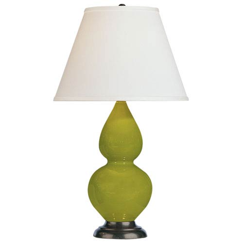 Small Double Gourd Apple and Oil Rubbed Bronze One-Light Ceramic Table Lamp