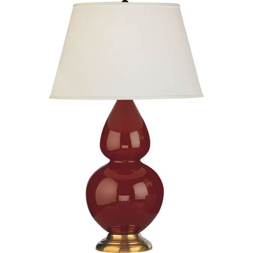 Robert Abbey Double Gourd Oxblood And Antique Brass One Light