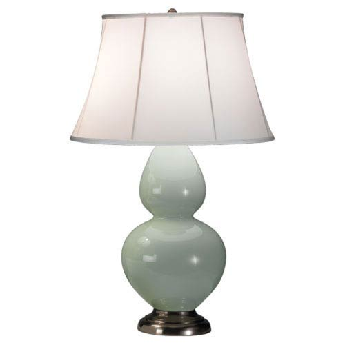 Double Gourd Celadon and Silver One-Light Table Lamp with Bell Shade