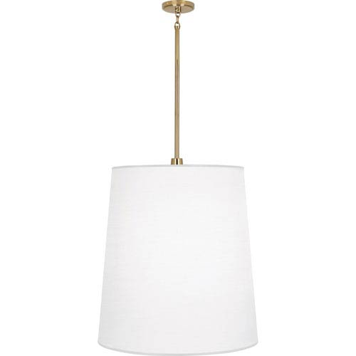 Rico Espinet Buster Polished Brass One-Light Pendant with White Shade