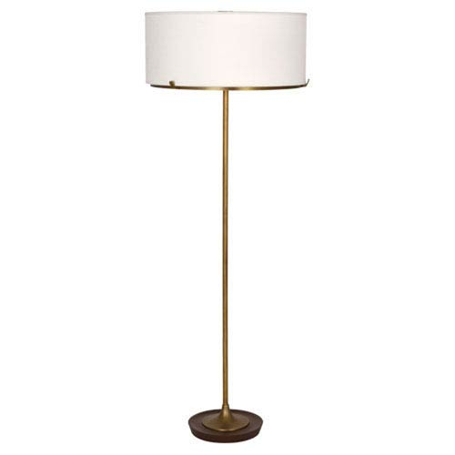 Edwin Aged Brass And Walnut Two-Light Floor Lamp