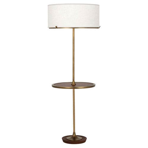 Edwin Aged Brass And Walnut Two-Light Floor Lamp with Tray