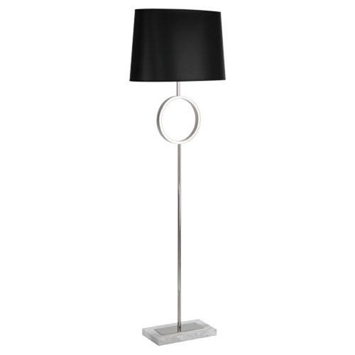 Logan White Carrara Marble and Nickel One-Light Lamp with Black Shade
