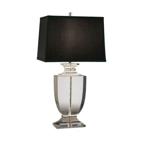 Artemis Solid Clear Crystal One-Light Table Lamp with Black Shade
