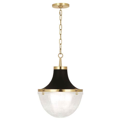 Brighton Matte Black and Brass One-Light Pendant