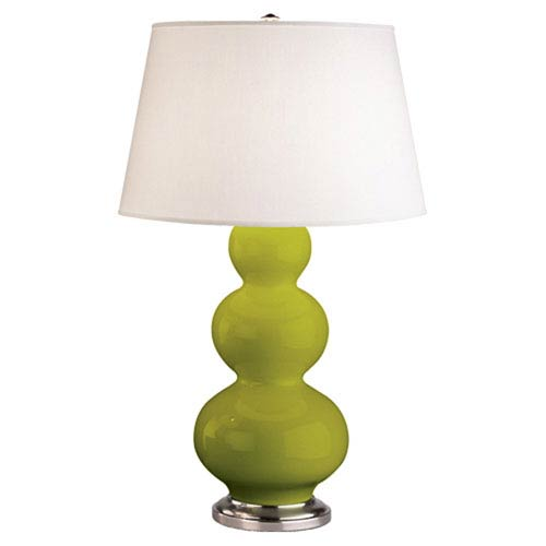 Green table lamps free shipping bellacor triple gourd apple and silver one light table lamp with empire shade aloadofball Choice Image