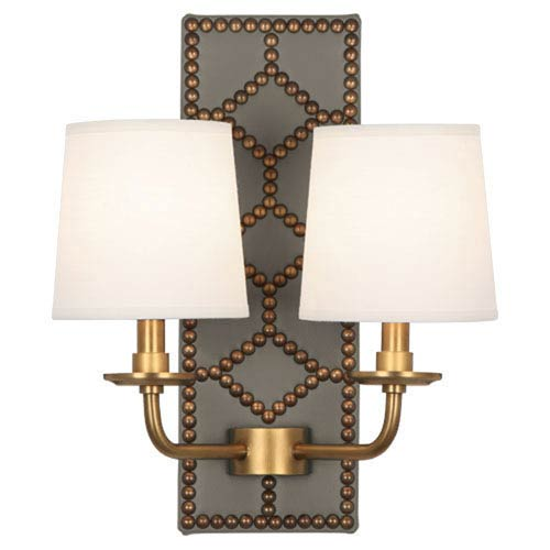 Williamsburg Lightfoot Aged Brass and Caruso Mushroom Two-Light Sconce