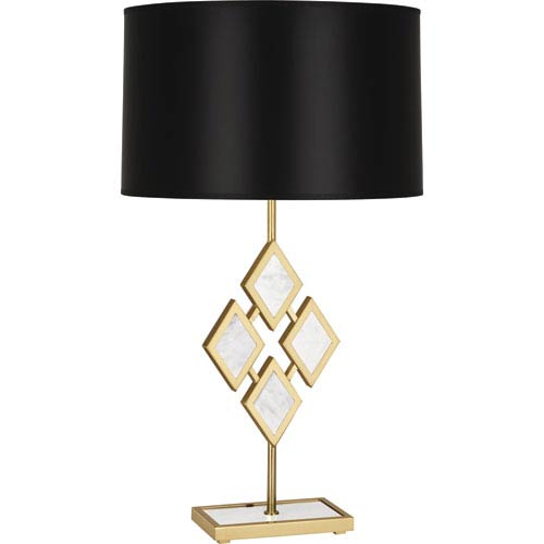 Robert Abbey Edward Modern Brass One-Light 29-Inch Marble Table Lamp with Black Shade