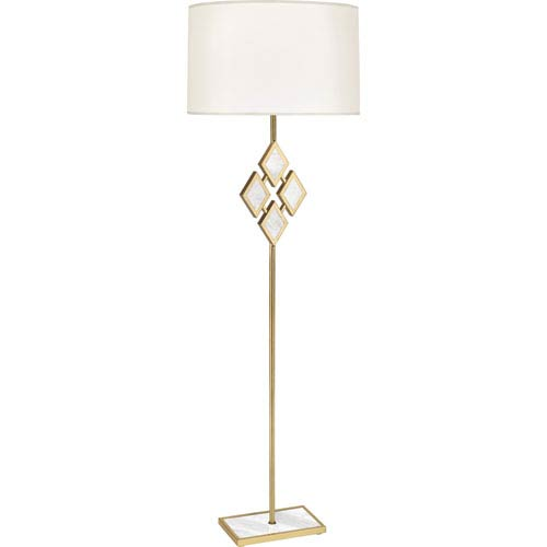 Robert Abbey Edward Modern Brass One Light 62 Inch White Marble Floor Lamp  With White Shade
