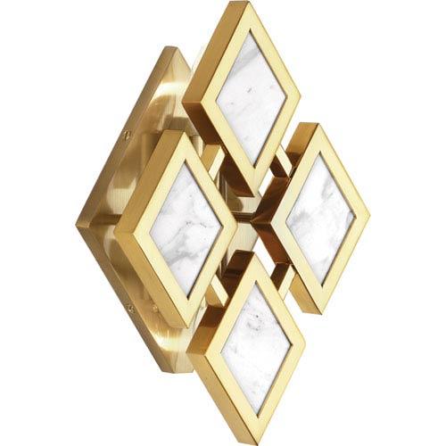 Robert Abbey Edward Modern Brass Two-Light White Marble Wall Sconce