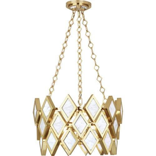 Robert Abbey Edward Modern Brass Three-Light White Marble Pendant