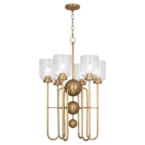 Robert Abbey Williamsburg Tyrie Antique Brass Six-Light Chandelier