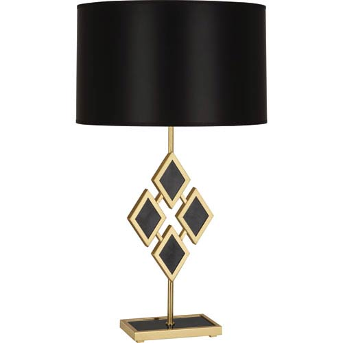 Edward Modern Brass One-Light 29-Inch Black Marble Table Lamp with Black Shade