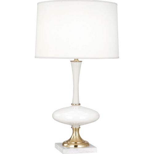 Robert Abbey Raquel White And Polished Br One Light 30 Inch Table Lamp