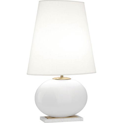Raquel White and Polished Brass One-Light 29-Inch Table Lamp