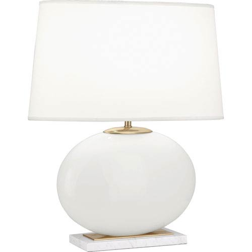 Raquel White and Polished Brass One-Light 22-Inch Table Lamp
