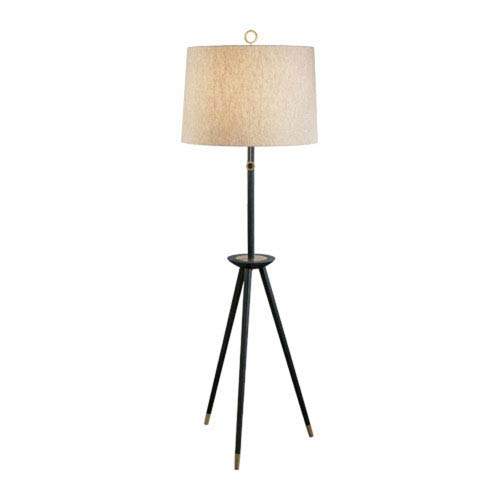 Jonathan Adler Ventana Ebony Wood and Antique Brass One-Light Floor Lamp
