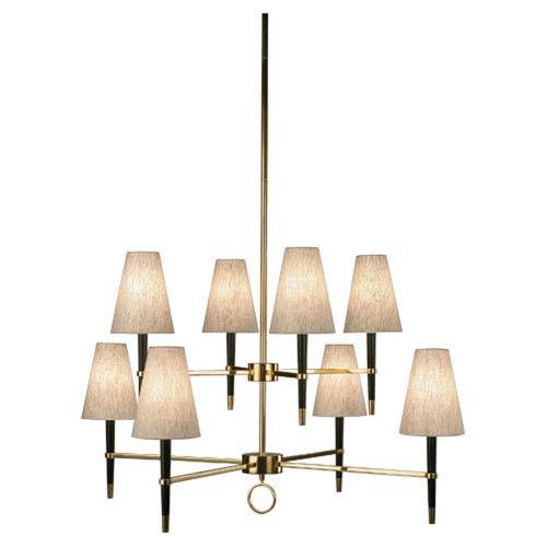 Jonathan Adler Ventana Ebony Wood Eight-Light Tiered Chandelier