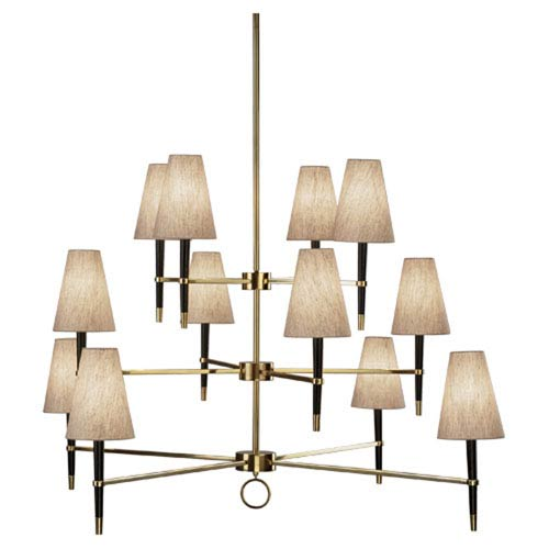 Jonathan Adler Ventana Brass and Ebony Wood Twelve-Light Chandelier