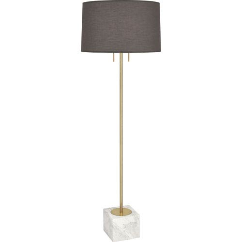 Robert Abbey Jothan Adler Caan Antique Brass Two-Light White Marble Floor Lamp with Smoky Shade