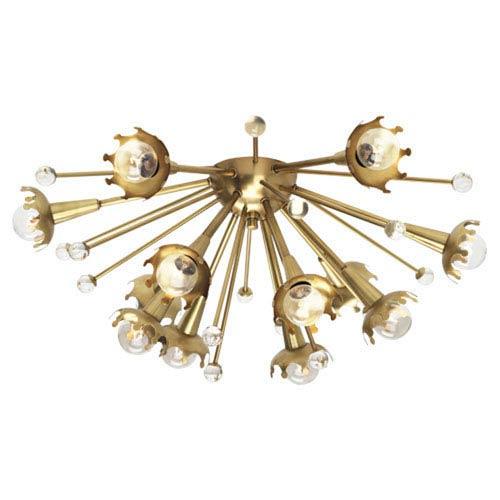 Jonathan Adler Sputnik Antique Brass Twelve-Light Flush Mount