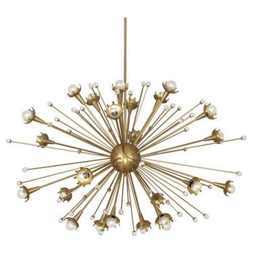 Robert Abbey Jonathan Adler Sputnik Antique Brass 48-Inch 24-Light Chandelier