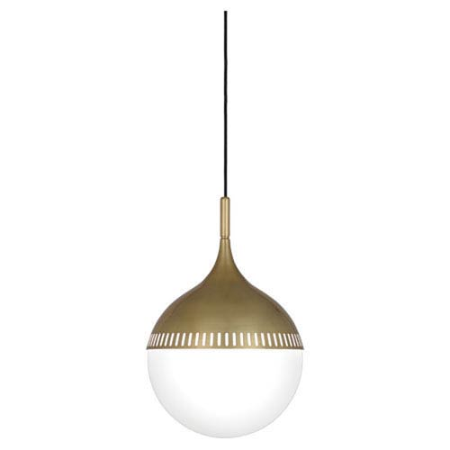 Jonathan Adler Rio Antique Brass and White Glass One-Light Fluorescent Pendant
