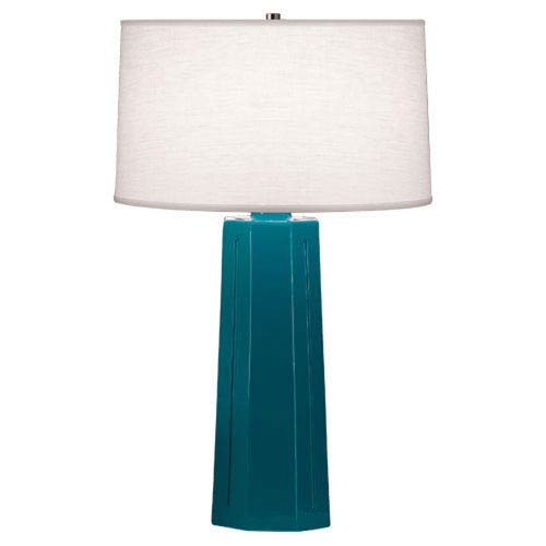 Mason Peacock and Polished Nickel One-Light Table Lamp