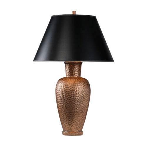 Beaux Arts New Copper One-Light Table Lamp with Black Shade